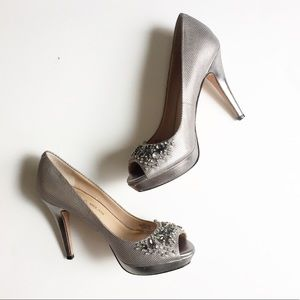 Antonio Melani Silver Jeweled Heels